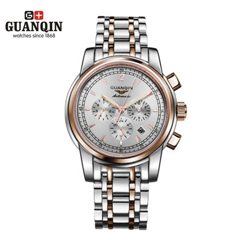Top Brand GUANQIN Men Mechanical Watch Luxury Big Dial Watches Waterproof Stainless Steel Wristwatches Relogio Masculino Reloj weide popular brand new fashion digital led watch men waterproof sport watches man white dial stainless steel relogio masculino