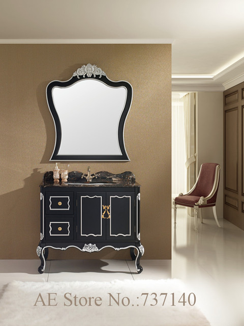 Black Bathroom Cabinet With Natural Marble Countertop Solid Oak Wood