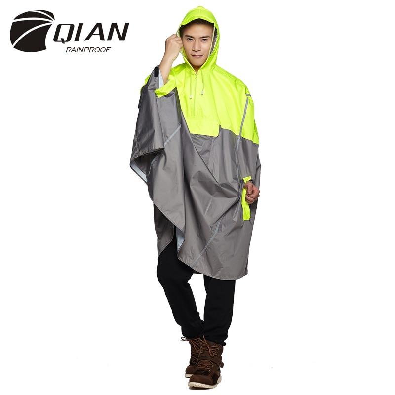 QIAN RAINPROOF necaurlaidīgs āra modes lietus Poncho mugursoma atstarojošs lentes dizains kāpšanas pārgājienu ceļojumu lietus vāks