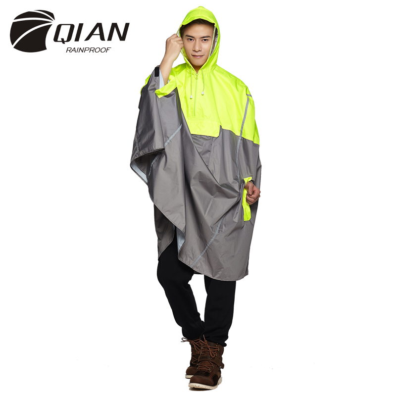 QIAN RAINPROOF Kedap Air Hujan Ponco Ransel Modis Pita Desain Luar Mendaki Mendaki Perjalanan Penutup Hujan