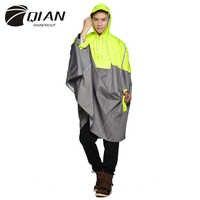 QIAN Impermeable al aire libre moda Poncho de lluvia mochila cinta reflectante diseño escalada senderismo viaje lluvia cubierta