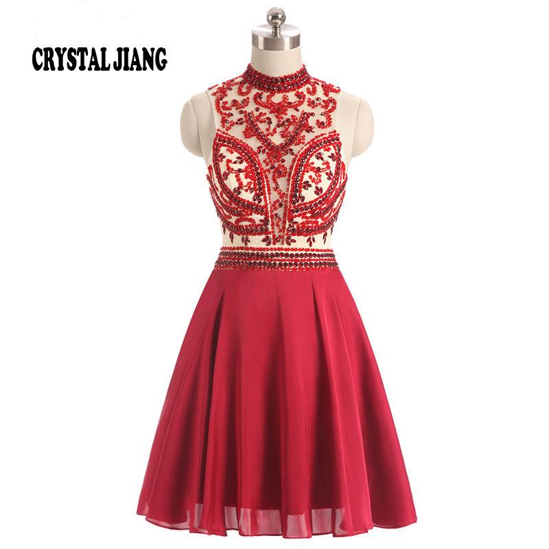 CRYSTAL JIANG 2017 High Neck Crystal Beaded Custom made A Line Natural Waist Wine Red Ch ...