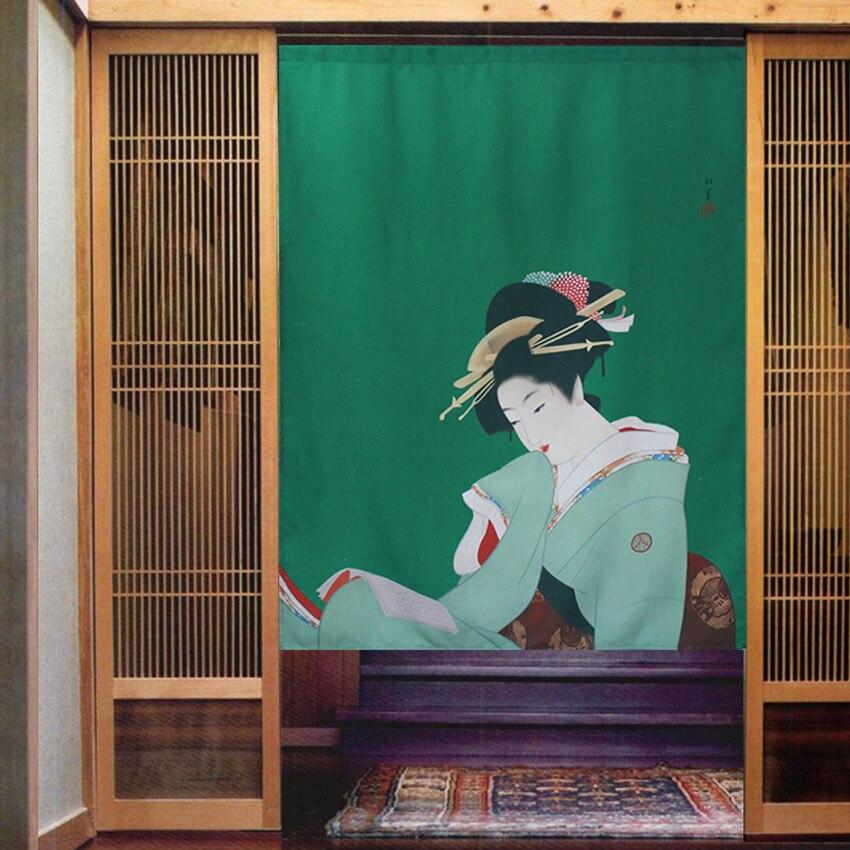 Style japonais Ukiyoe peinture portrait d'une dame porte rideau séparation demi pendaison beauté image art décoration de la maison