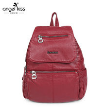 Angelkiss Soft Washing PU Leather Backpack for Women Solid Vintage Red Bags(China)
