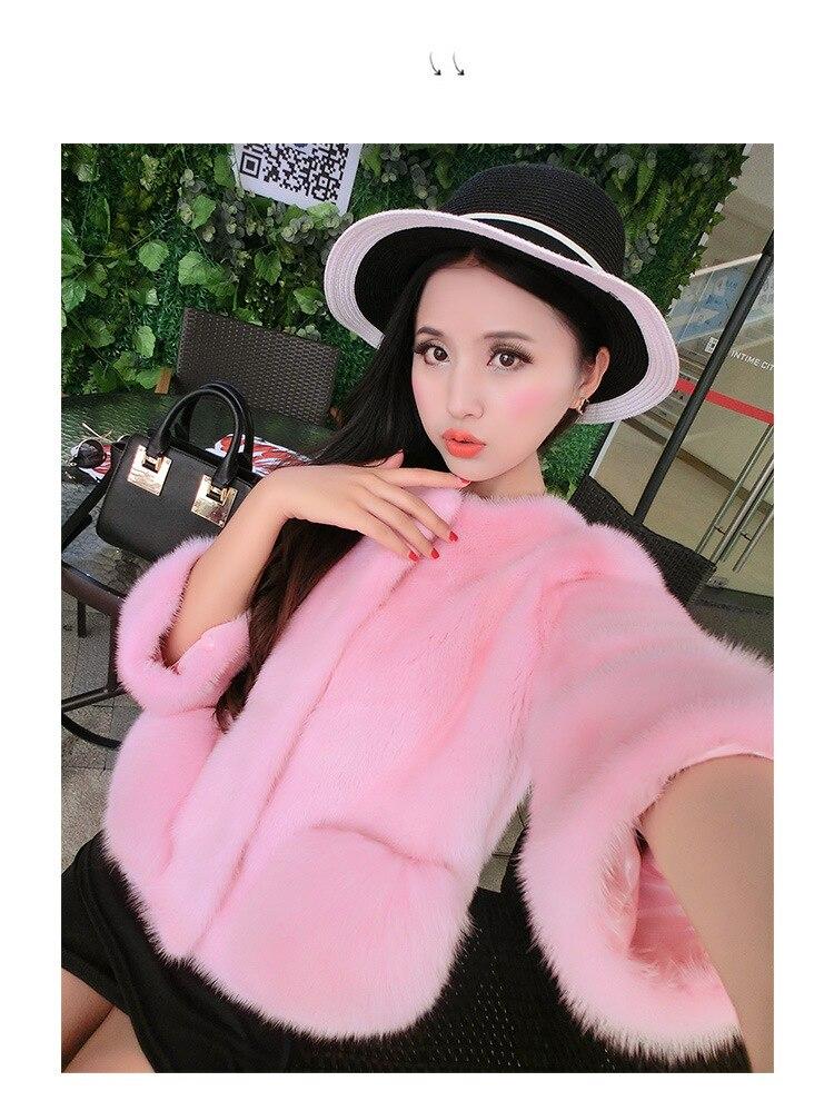 Un pink Veste Cheveux Faux Hiver Chaud Avec Imitation Capot Vison 2017 White Fourrure Manteau De Luxe grey Cape p7qfS