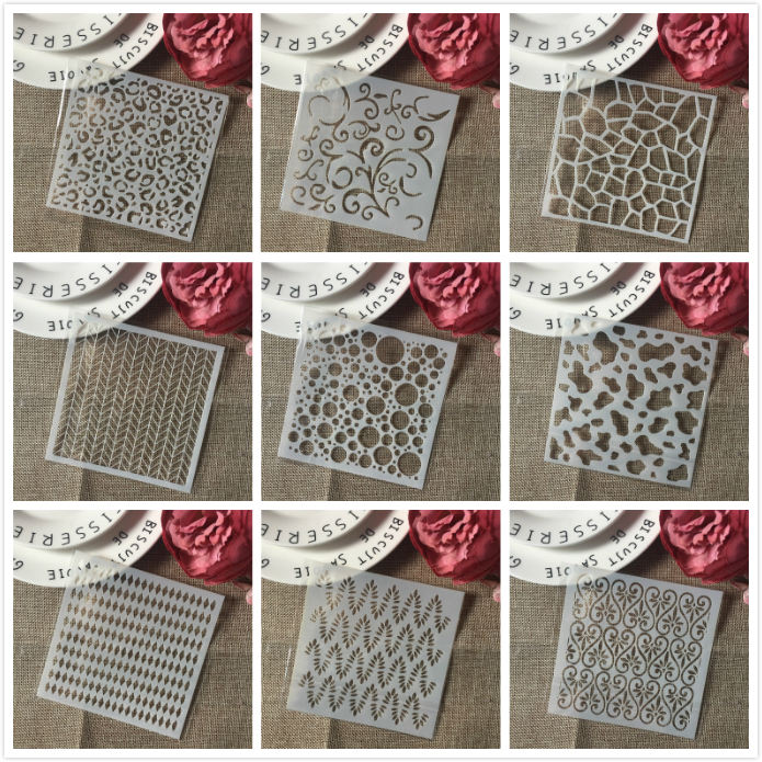 9Pcs/Set 5inch Bubble Texture DIY Craft Layering Stencils Painting Scrapbooking Stamping Embossing Album Card Template