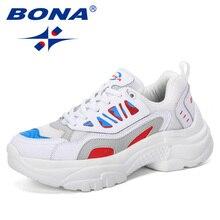 BONA 2019 Yeni Tasarımcı Kadın Sneakers vulkanize ayakkabı Bayanlar rahat ayakkabılar Hafif Nefes düz ayakkabı Tenis Feminino Rahat