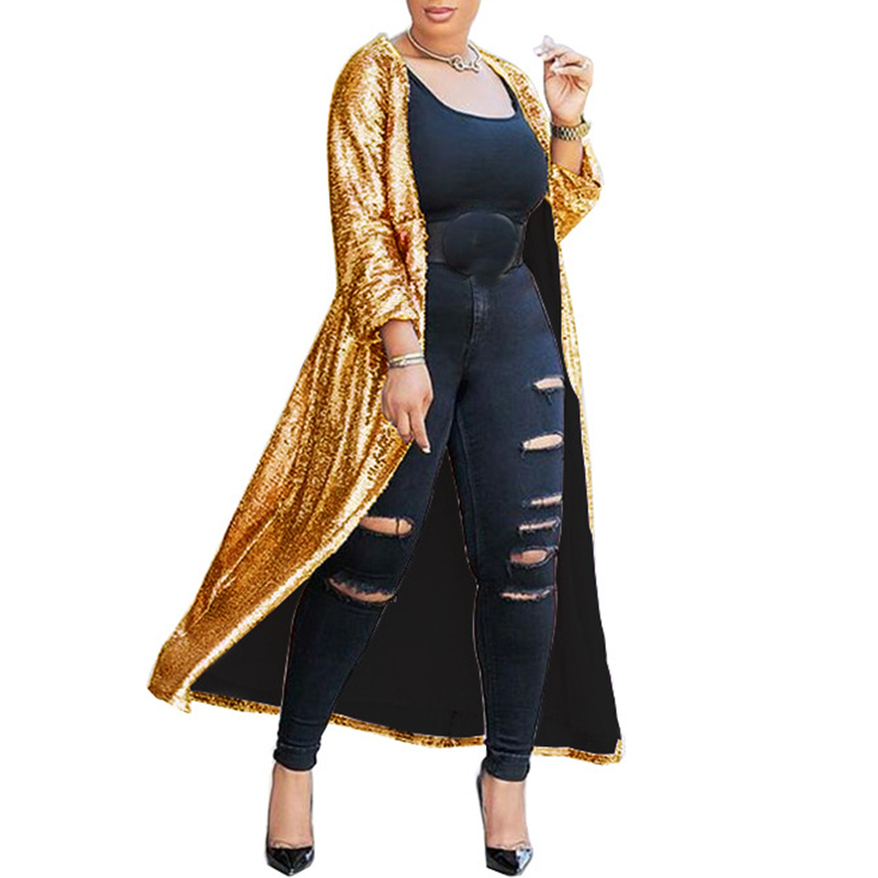 Women Gold Sparkly Sequin Long Cardigan Sexy Long Sleeve Open Front Trench Coat Ladies Party Glitter Kimono Cardigan Coats Tops