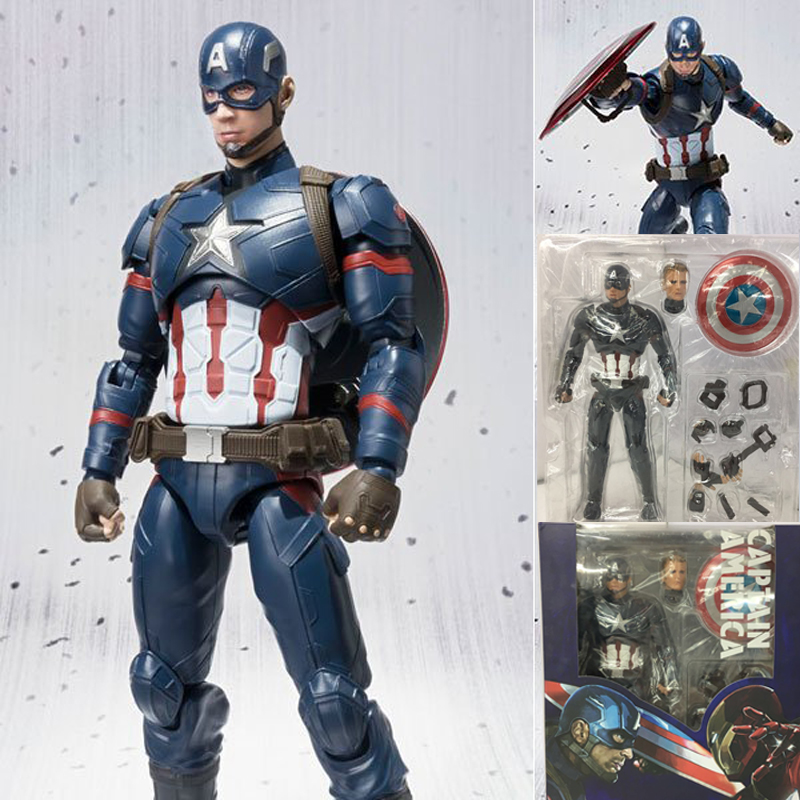 Captain America Figure Civil War Steve Rogers Tony Stark Iron Man Action Figures Model Toy Doll Gift Free Shipping 1 6 scale male head sculpts model toys downey jr iron man 3 captain america civil war tony with neck sets mk45 model collecti f