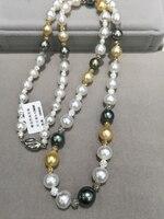Solo 1 pz Lungo Mare di Perle d'acqua Collana Multicolore della perla di Tahiti oro bianco misto barocco vera perla della collana Delle Donne