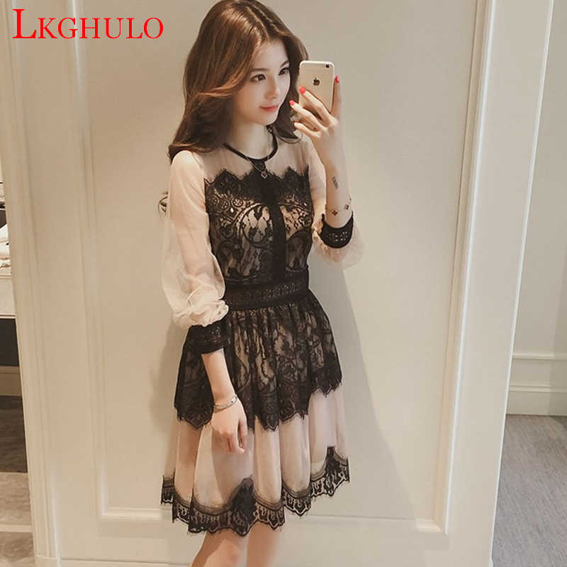 S-XL Sale Spring Autumn Dress Hollow Out Women Long Sleeve Elastic Waist Floral Crochet Casual Lace Dress Femininas Vestidos A6