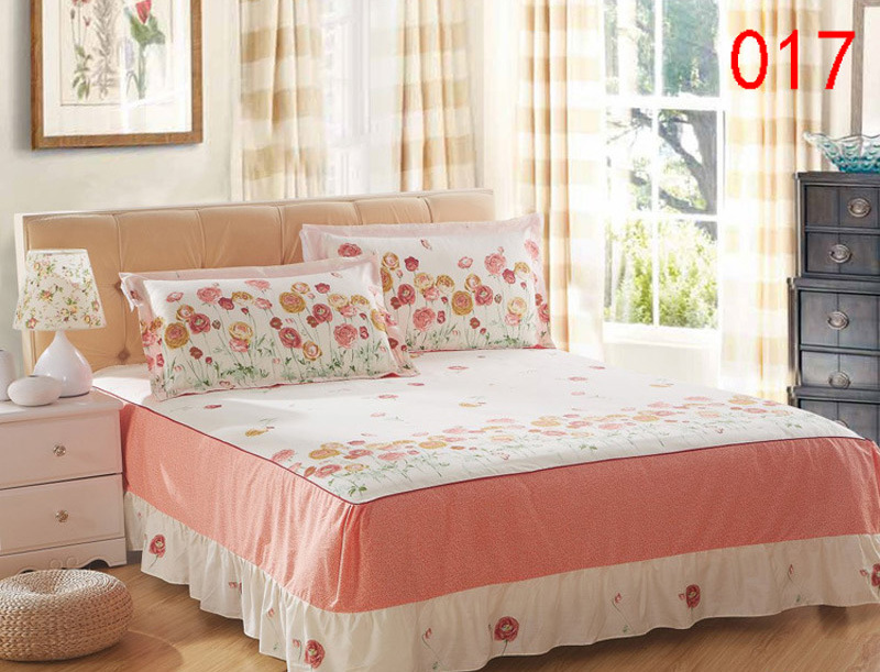 Beige Yellow Red 1 Cotton Bed Skirt Mattress Protective Cover