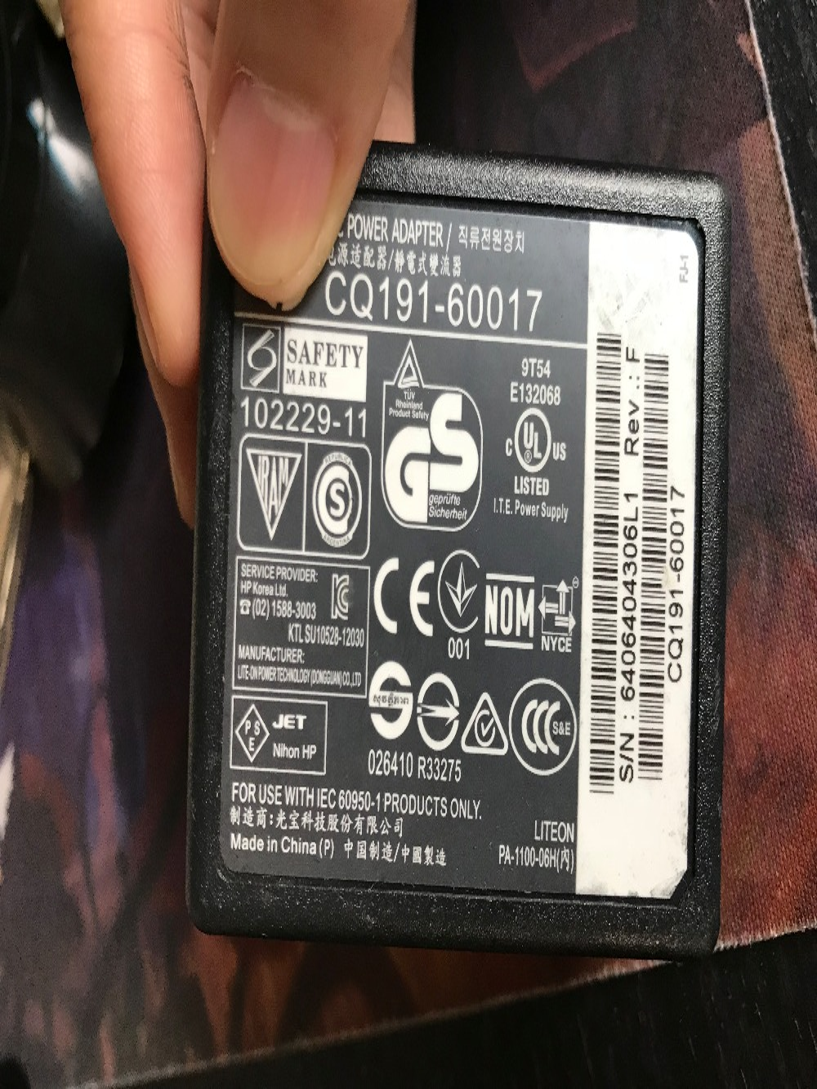Используется CQ19160017 UpBright AC/DC адаптер для HP CQ191-60017 PA-1100-06H зарядное устройство Принтера