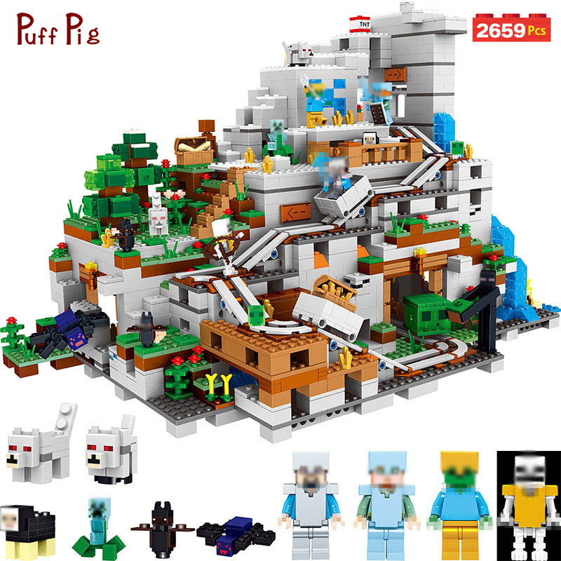 My World Minecrafted Steve Mini Action Figures Mountain Cave Castle Light Building Blocks Compatible Legoings Toys For Children