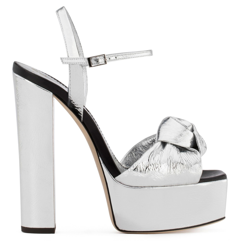 Sliver Patent Leather Platforms for Women Knotted High Heel Sandals Sexy  Dress Heels Ladies Block Heel Summer Shoes Big Size-in High Heels from Shoes  on ... 84c9835a57eb