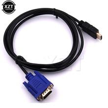 Mais novo 1.8 m hdmi cabo para vga adaptador digital 1080 p hd com conversor de áudio adaptador hdmi vga cabo do conector para caixa de tv