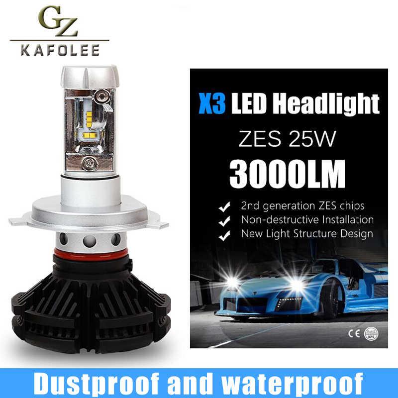 GZ KAFOLEE 2 Pcs Auto Headlight h4 led High Low Beam H1 H3 H7 6000LM H8 H9 H11 9005 9006 12V 24V LED Headlight Bulb Super Bright