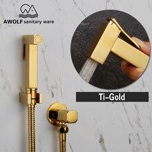 Hand Held Bidet Sprayer Douche Toilet Kit Shiny Gold Brass Square Shattaf  Shower Head  Copper Valve Set Jet Bidet Faucet AP2108