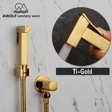 Ręczna rączka bidetowa Douche zestaw toaletowy błyszczące złoto mosiądz kwadratowy Shattaf głowica prysznicowa zawór miedziany zestaw Jet bateria bidetowa AP2108