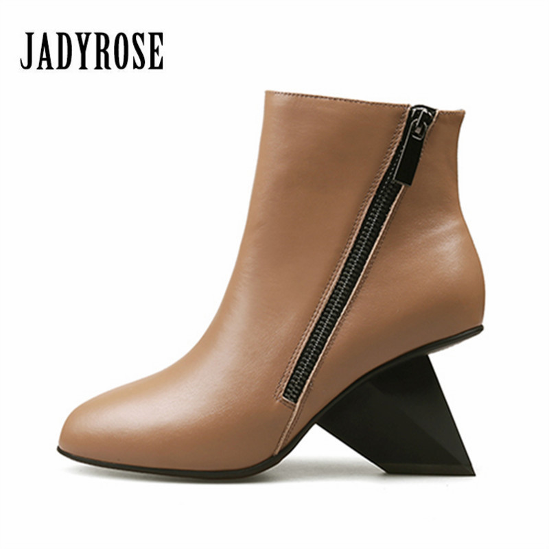 Jady Rose New Dot Design Women Ankle Boots Strange Heel Wedges Double Zipper Wedge Shoes Woman High Heel Winter Boot Women Pumps woman wedge heel ankle boots 2015 the latest autumn winter fashion zipper pumps boots cross straps woman wedge heel ankle boots