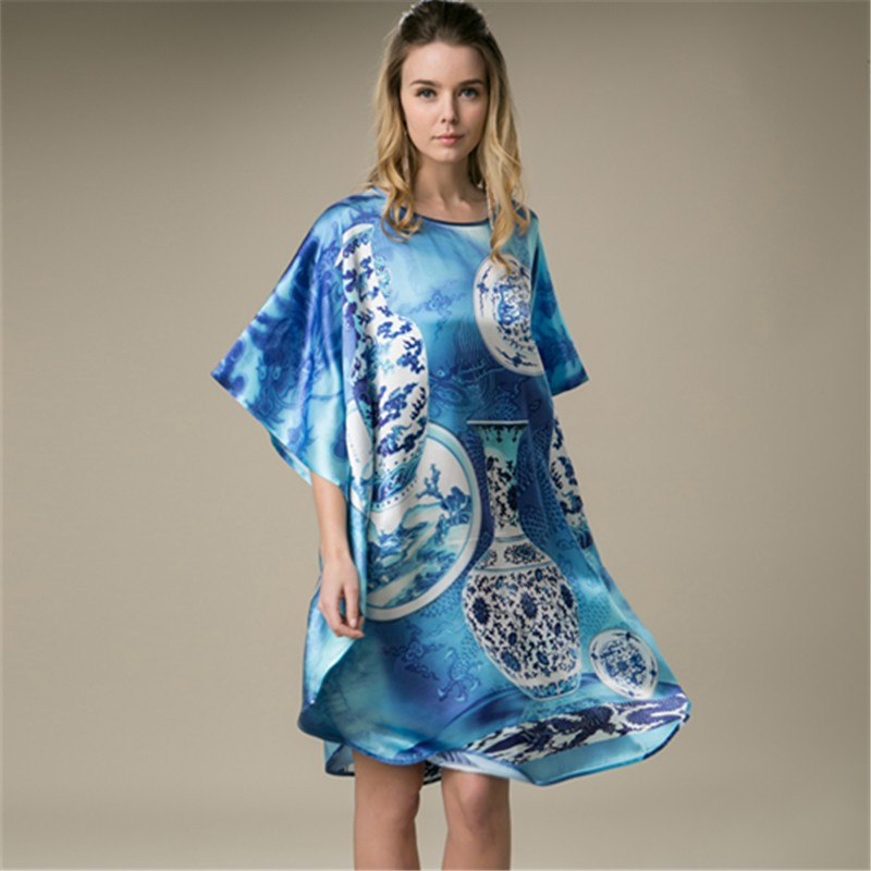 100 Silk Satin Dress Natural Mulberry Silk Printed Women Summer Dresses Organic Fabric Home Dress