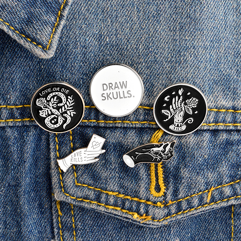 QIHE JEWELRY Draw SkullsLove KillsLove Or DieHands With Snake And Rose Enamel Pin Brooches Badges Punk Pins Collection In From Jewelry