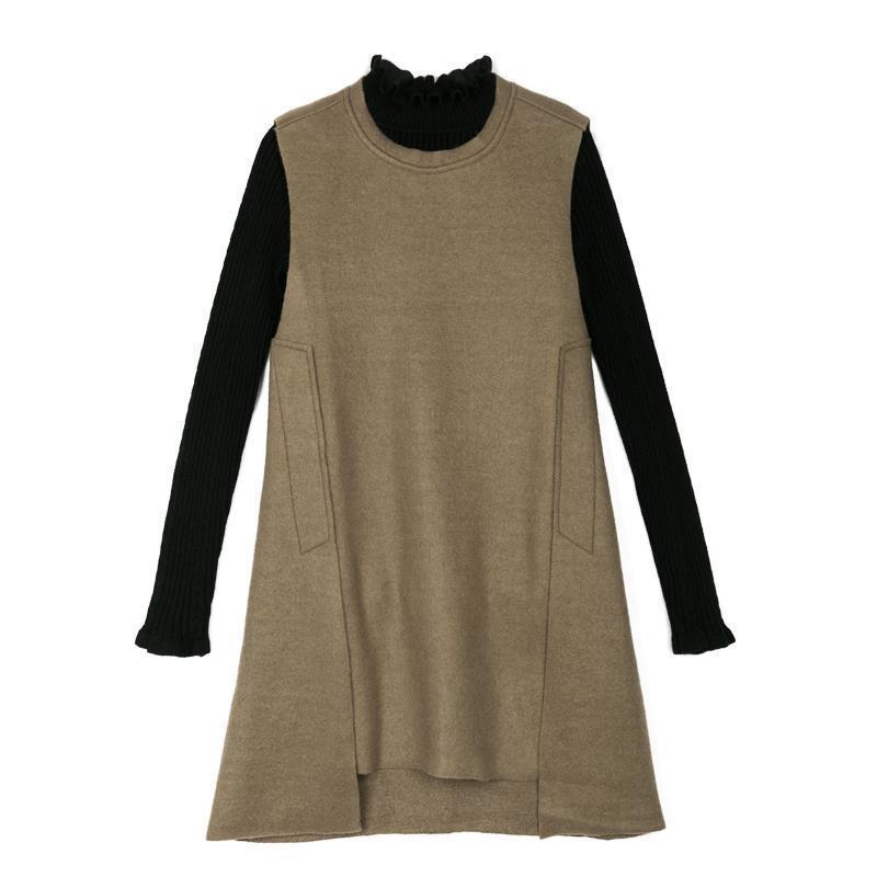 autumn and winter women's woolen bottom knitted vest suit Dress two-piece girls woolen vest dress winter autumn