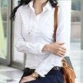 2017 mujeres de La Manera más el tamaño de oficina camisas de solapa manga larga gira el collar abajo blusas de las señoras tops blanco y negro