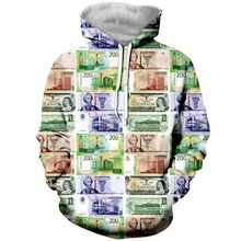 YX GIRL 3D Print Funny Money Mens Hoodies Sweatshirt With Hat Pocket Men Autumn Spring Tracksuit Pullover Dropshipping