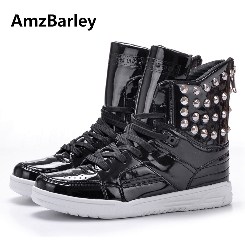 AmzBarley Men Casual Shoes Footwear Patchwork Shiny Metal Rivet PU Leather High Top Plain Man's Hip Hop Zapatillas Hombre casual dancing sneakers hip hop shoes high top casual shoes men patent leather flat shoes zapatillas deportivas hombre 61
