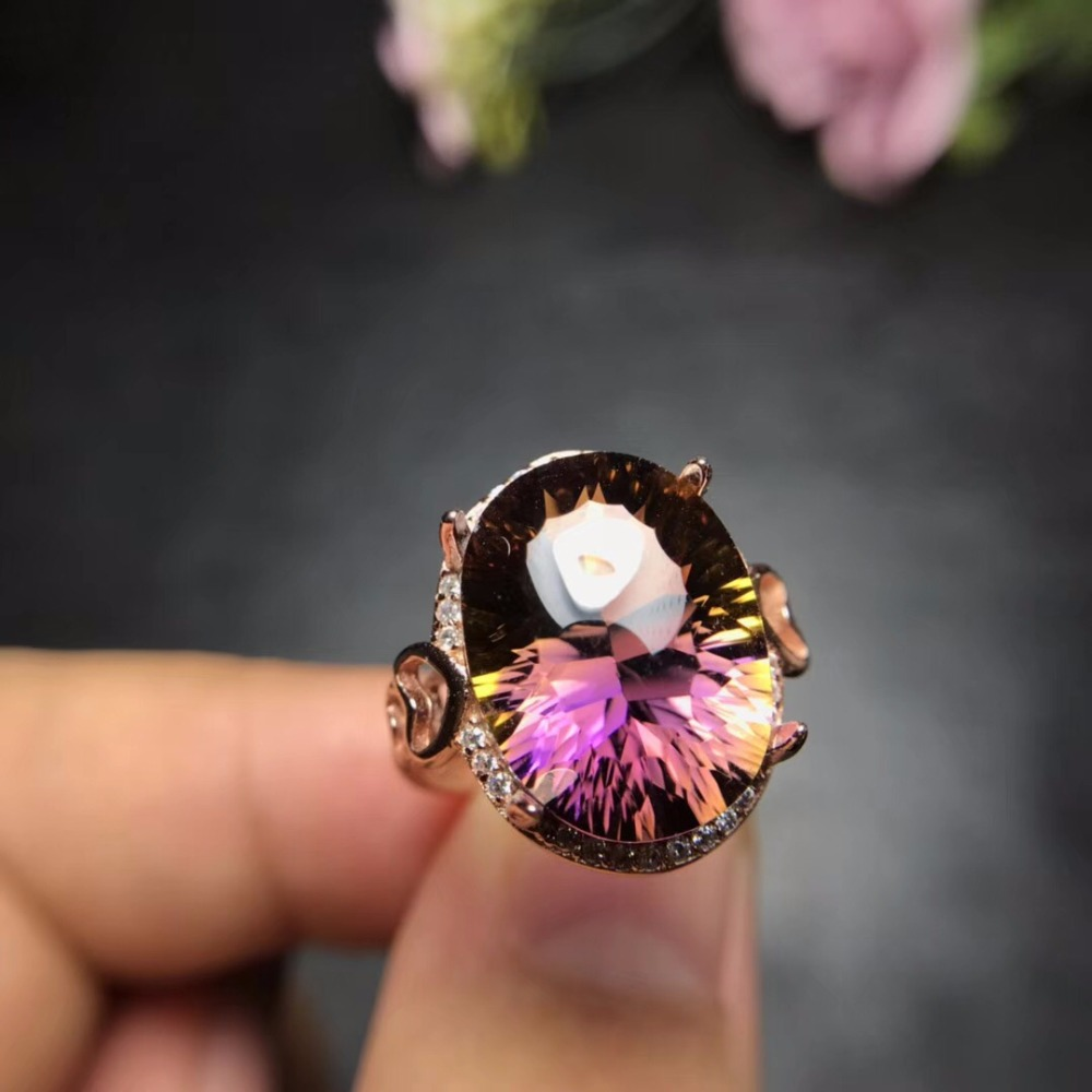 Uloveido ปรับ Rose Gold ธรรมชาติ Ametrine แหวน 925 เงินสเตอร์ลิงแหวนงานแต่งงานเครื่องประดับสำหรับสาว 20% FJ306-ใน ห่วง จาก อัญมณีและเครื่องประดับ บน   1