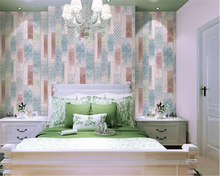 beibehang Southeast Asia Mediterranean Print Wood Block PVC Wall paper Living Room Clothing Store papel de parede 3d wallpaper стоимость