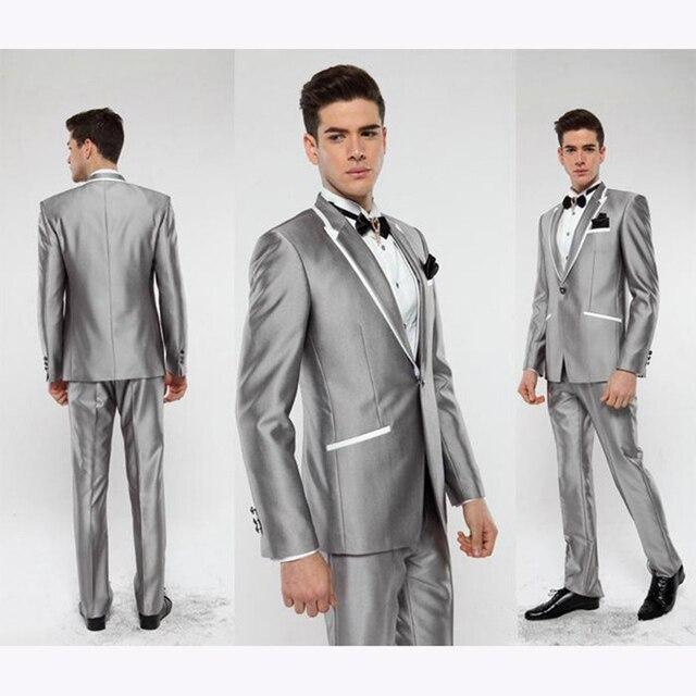 New 2017 Italian Groom Tuxedo Silver men Suit peaked Lapel Best ...