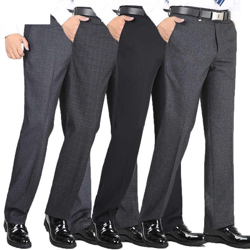 Pantalones De Vestir Gruesos Para Hombre Pantalones De Negocios Clasicos Pantalones Informales Rectos Holgados De Cintura Alta Pantalones De Traje Aliexpress