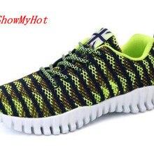 ShowMyHot/Модная обувь на плоской подошве; Новые Дизайнерские летние мужские мягкие туфли; легкие повседневные кроссовки; Мужская обувь для спортзала; большие размеры; дышащая обувь