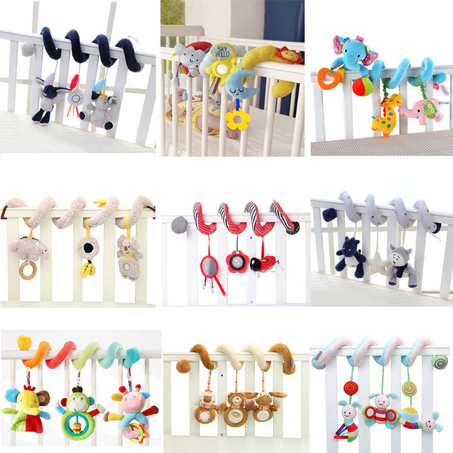 Toy Baby Stroller Comfort Stuffed Animal Rattle Mobile Infant Stroller Toys For Baby Hanging Bed Bell Crib Rattles Toys Gifts(China)