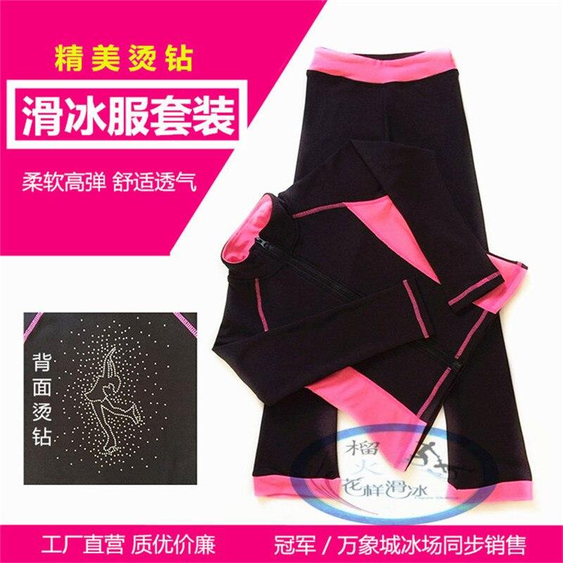 Pattinaggio di figura Pattinaggio Su Ghiaccio Tuta Vestiti Dei Vestiti Delle Ragazze delle Donne Giacca In Pile Rosa Scuro azzurro Alta forza elastica Comfort