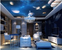Custom Wallpaper 3d Ceiling Murals Cosmic Solar System Planet Starry Decoration Painting 3d Wall Murals Wallpaper