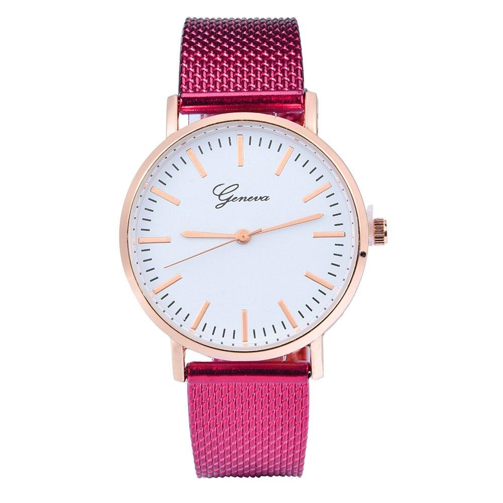 GENEVA Leather Quartz Analog Wrist Watch Luxury pulseira relogio Women Classic Quartz Silica Gel Wrist Watch Bracelet Watches 1