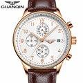 Mens relojes de primeras marcas de lujo guanqin hombres deporte militar luminosa cronógrafo de pulsera de cuero reloj de cuarzo relogio masculino