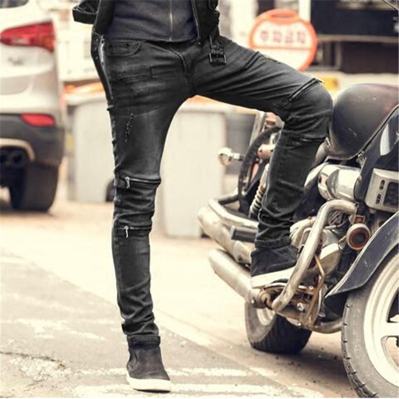 Hommes Glissière 2018 A5013 Taille Solide La Masculine Mode Vintage Black Automne Élasticité À Skinny Jeans Plus Veste pIT7qvWw