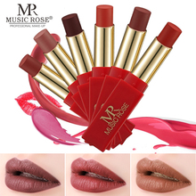 MUSIC ROSE Sexy Red Lip Makeup 24 Color Matte Lipstick Waterproof Velvet Stick Shimmer Nude Long Lasting Gloss Cosmetics