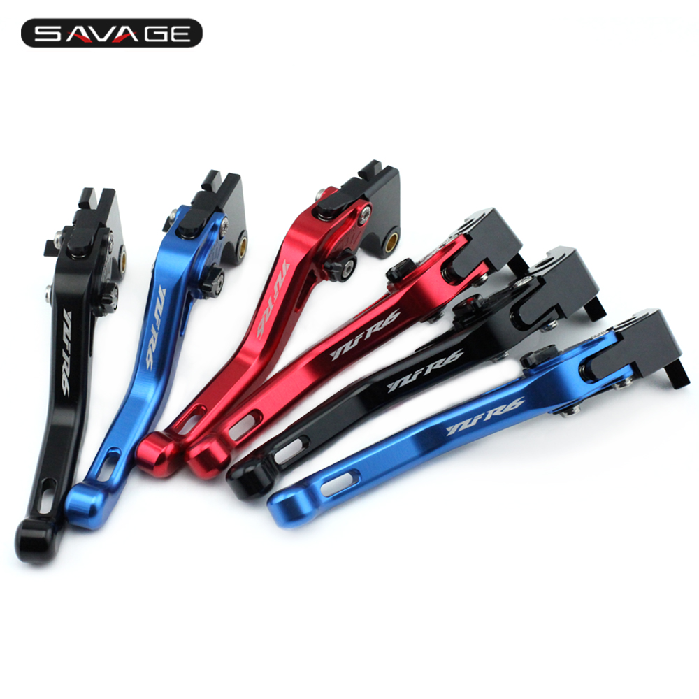 Short Brake Clutch Levers For YAMAHA YZF-R6 YZFR6 2017 Motorcycle Accessories Aluminum Adjustable logo YZF R6 6 colors cnc adjustable motorcycle brake clutch levers for yamaha yzf r6 yzfr6 1999 2004 2005 2016 2017 logo yzf r6 lever