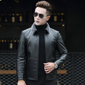 YOLANFAIRY Geniune Leather Jacket Pure Cow Leather Coat Men's