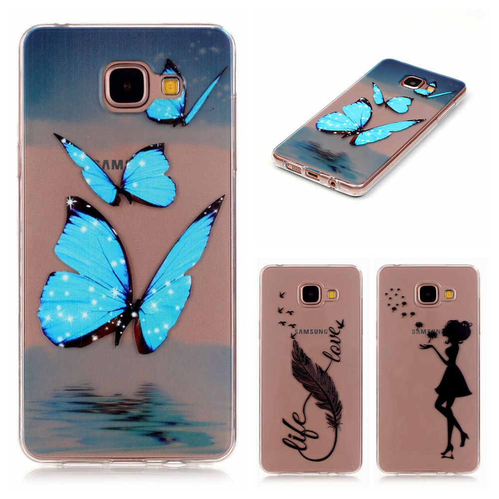 Pu leather case for samsung galaxy a7 2016 a710 peacock feather - Ultra Thin Transparent Butterfly Feather Pattern Soft Tpu Back Cover Case For Samsung Galaxy A3 2016