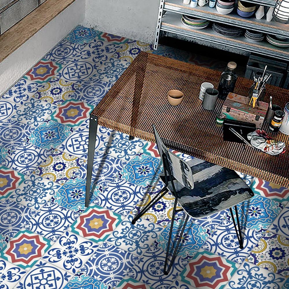 European Style 25Pcs Self Adhesive Tile Art Wall Decal Sticker DIY Kitchen Bathroom Decor Vinyl Wall Floor Desk Stickers