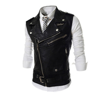 Hot Sale Free Shipping Men Leather Casual Slim Fit Sleeveless Jacket Pu Coat Waistcoat 3 Colors
