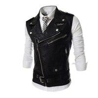 Hot sale free shipping men leather casual slim fit sleeveless jacket pu coat waistcoat 3 colors M-XXL(Asian) C5641