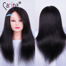 цена на 45cm 100% Human Hair Salon Mannequin Head For Hairstyles Professional Styling Head Hairdresser Training Head With Natural Hair