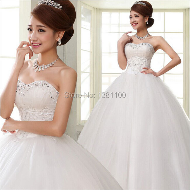 2015 New Lace Up Strapless Heart Shaped Diamond Full Long